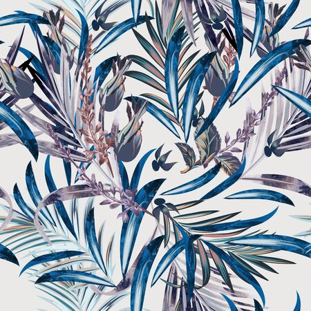 Fashion vector floral pattern with tropical palm leaves and flowers Çizim
