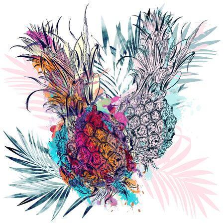 Summer vector poster design with colorful pineapples and palm leaves