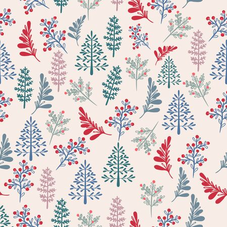 Christmas rustic vector pattern with Xmas trees in Scandinavian style Illusztráció