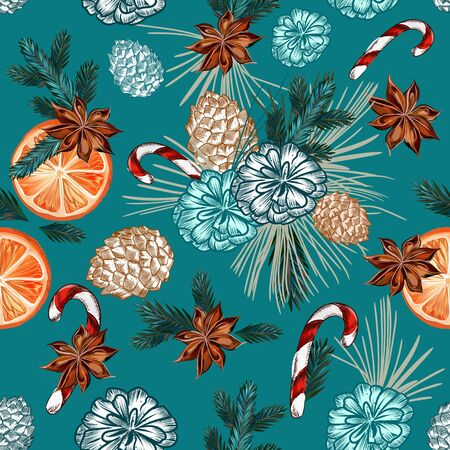 Christmas vector seamless pattern with fur tree branches, oranges, cone and anise stars