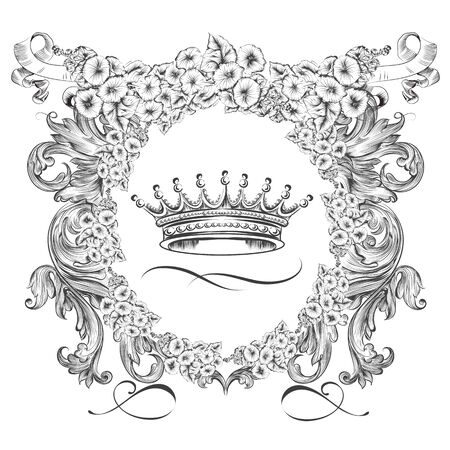 Heraldic vector shield with crown and flowers in vintage antique style Çizim