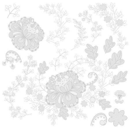 Set of vector filigree lace for design Çizim