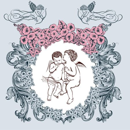 Valentine romantic vector vintage card with angels and flower frame