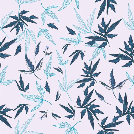 Floral rustic vector pattern with leaves and plants in blue color Çizim