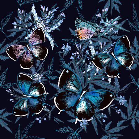 Floral vector pattern with butterflies, leaves and plants in blue color Çizim