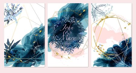 Set of card with field flowers, leaves. Wedding navy blue and gold concept. Floral poster, invite. Vector decorative greeting card or invitation design background