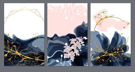 Set of card with flowers, leaves. Wedding dark blue and gold concept. Floral poster, invite. Vector decorative greeting card or invitation design background Çizim
