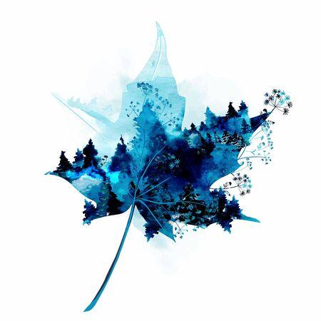 Artistic vector maple leaf in watercolor elegant style