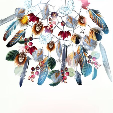 Beautiful vector fashion boho illustration with dreamcatcher feathers and berries Çizim