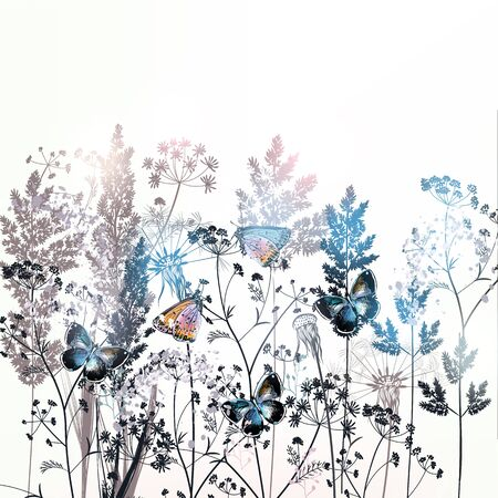 Beautiful vector field flowers illustration with plants, florals and butterflies