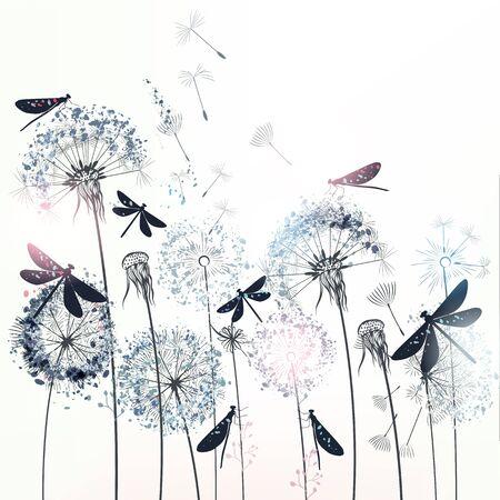 Elegant vector illustration with dandelions and dragonflies Çizim