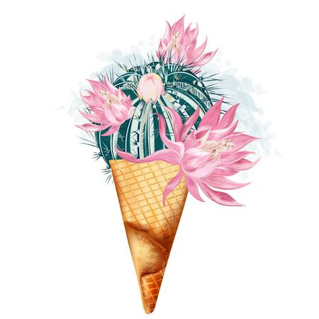 Fashion vector illustration with creative ice cream from cactus