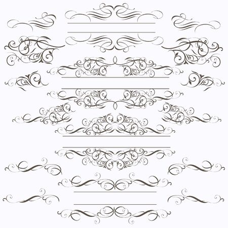 Collection of vector frames in elegant style from flourishes Çizim