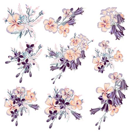 Collection of vector purple flowers compositions for wedding designs, invitations in vintage style Çizim