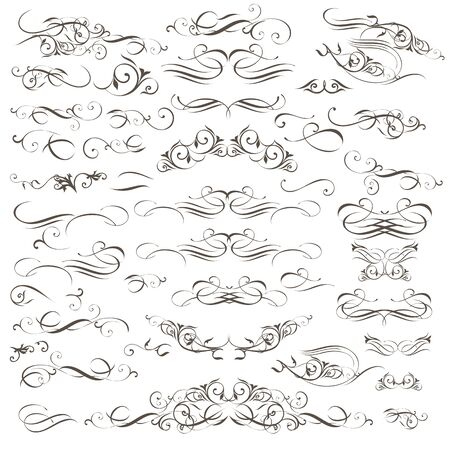 Big collection of vector decorative flourishes and swirls for design Vecteurs