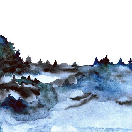 Beauitful painted watercolor texture with forest in fog ideal for prints and wallpapers