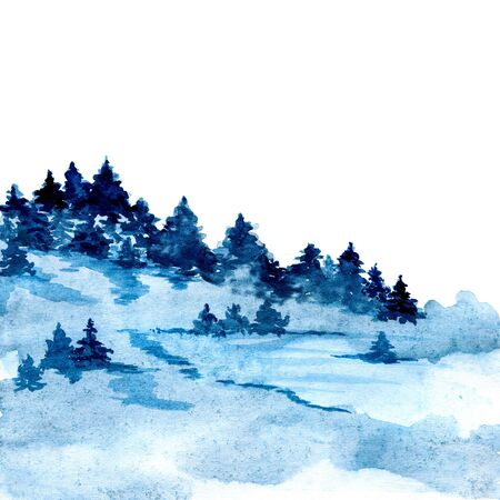 Blue painted watercolor texture with forest in fog ideal for prints and wallpapers