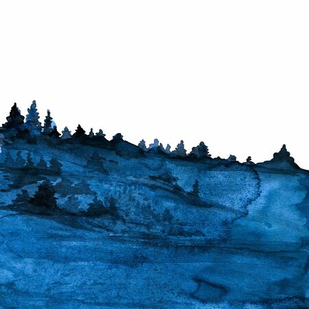 Blue painted watercolor texture with forest in fog isoated on white ideal for prints and wallpapers Stok Fotoğraf