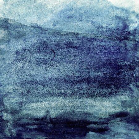 Deep blue watercolor texture, sea, sky, water, ocean, background for design Stok Fotoğraf