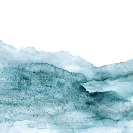 Green-blue painted watercolor texture with abstract mountains, sea or forest ideal for prints and wallpapers