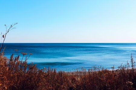 Vibrant beautiful coast of sea of Japan . Ocean horizon. Nautical background