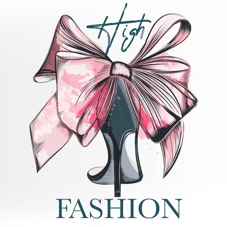 Fashion with female elegant shoe and bow in watercolor style