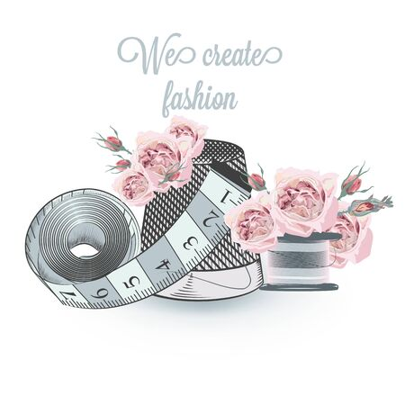 Fashion vector illustration with sewing accessories and roses