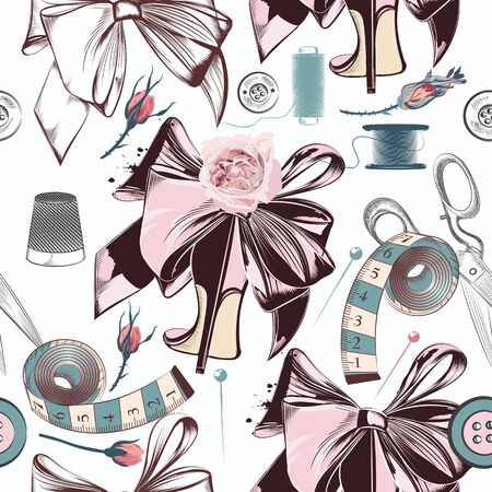 Fashion  pattern with sewing accessories, bows, roses and shoes