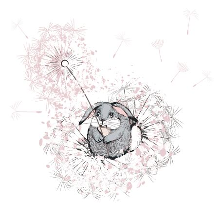 Hand drawn vector bunny with dandelions plants in pink color Çizim