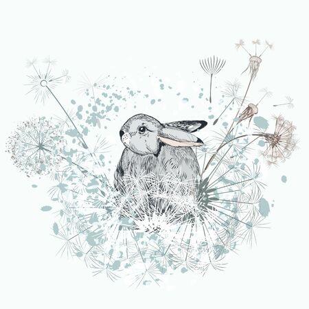 Lovely vector little rabbit with dandelions