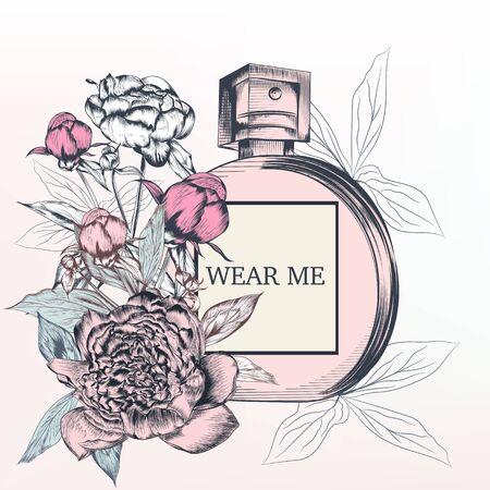 Fashion illustration with perfume bottle and rose flowers 일러스트