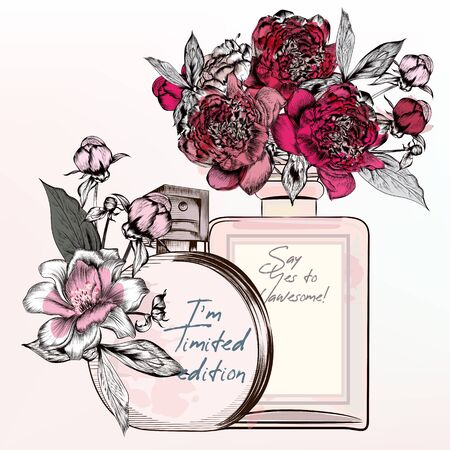 Fashion illustration with perfume bottles, roses, peony flowers in vintage style 일러스트