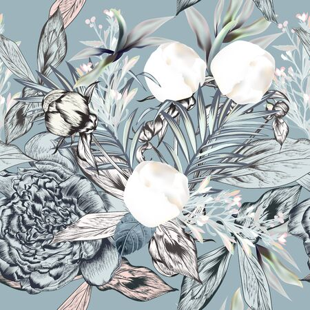 Fashion seamless vector textile pattern with white peony flowers and palm leaves in vintage style