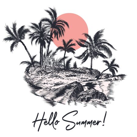 Fashion illustration for apparel, hello summer, vector poster design with palm trees, ocean and island in retro style