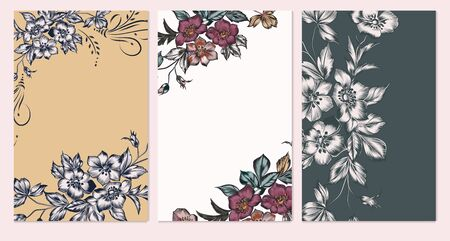 Set of card with elegant flowers, leaves. Wedding vintage concept. Floral poster, invite. Vector decorative greeting card or invitation design background 일러스트