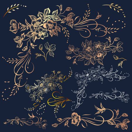 Big collection, set of vector golden flourishes and flowers in vintage elegant style