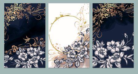 Set of card with elegant flowers, leaves. Wedding vintage concept. Floral poster, invite. Vector decorative greeting card or invitation design