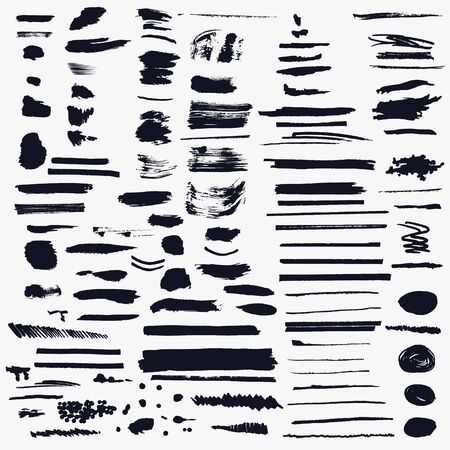Mega big collection of vector shabby, grunge, ink pen strokes for brushes Vetores