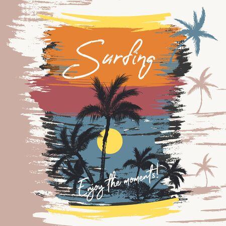 Fashion vector illustration beach, palms, sea, sunset and surfing. Enjoy the moments slogan, t-shirt print