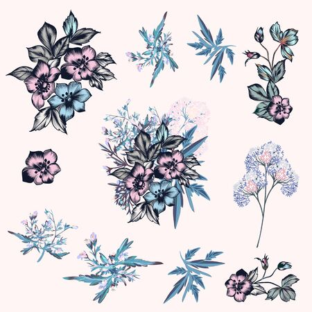Collection of vector hand drawn flowers in vintage style