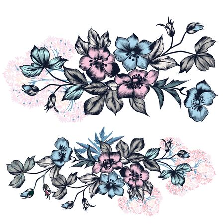 Set of vector hand drawn flowers in vintage style