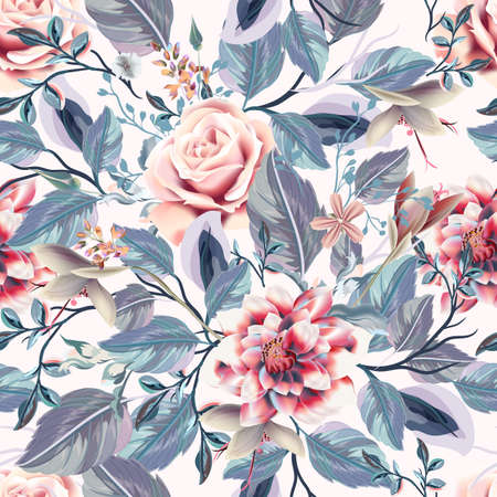 Beautiful seamless vector vintage pattern with pink roses, blue leaves and flowers