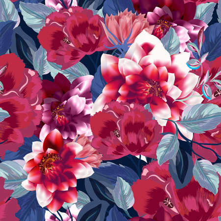 Beautiful vector illustration with poppy flowers, herbs, blue leaves and dahlias flowers in vintage style 일러스트