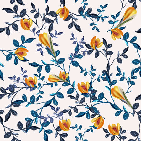 Vintage vector seamless floral pattern with blue leaves and flowers 일러스트