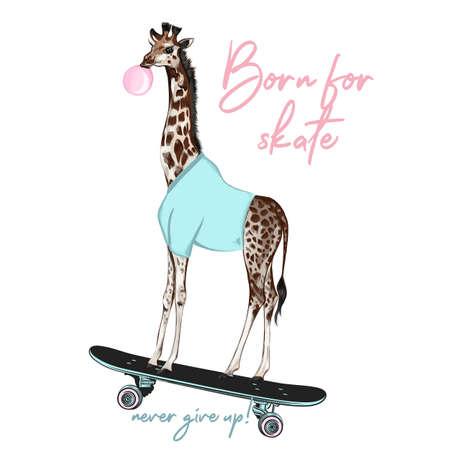 Fashion hipster vector illustration with giraffe on skateboard 일러스트