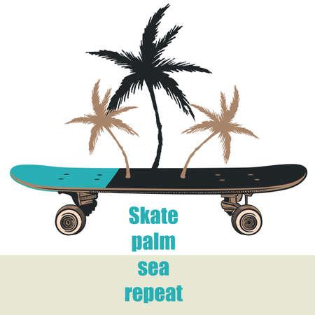 Fashion illustration with skateboard