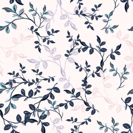 Elegant vintage vector seamless floral pattern with blue leaves Çizim