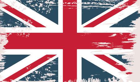 British vector flag in grunge vintage style