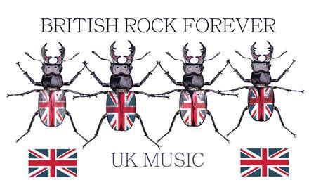 Fashion vector illustration British rock music with beetles Çizim