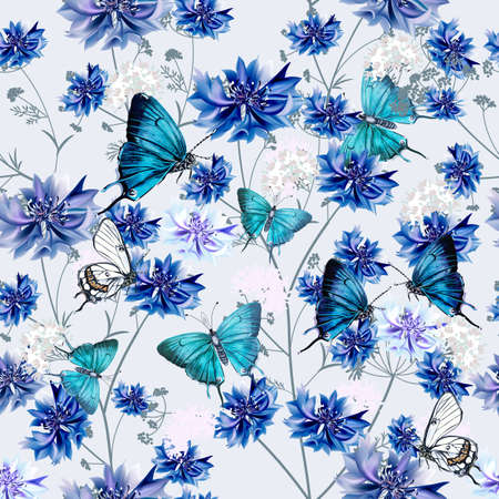 Fashion vector seamless pattern with blue cornflowers and butterflies for fabric design Çizim